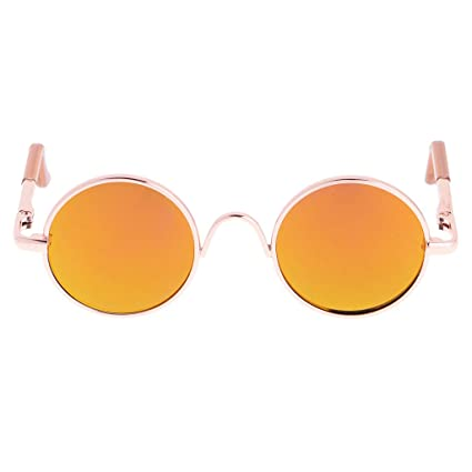 14fc784572 Image Unavailable. Image not available for. Color  Jili Online A Pair of  Gold Round Frame Glasses ...