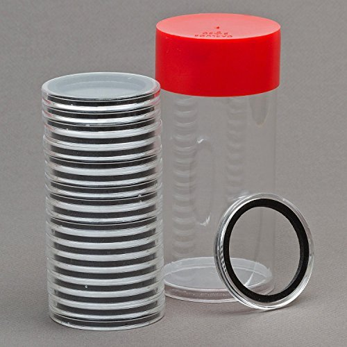 Air-Tite 1 Coin Holder Storage Container & 20 Black Ring 32mm Capsules For 1oz Gold Eagles by Air-Tite
