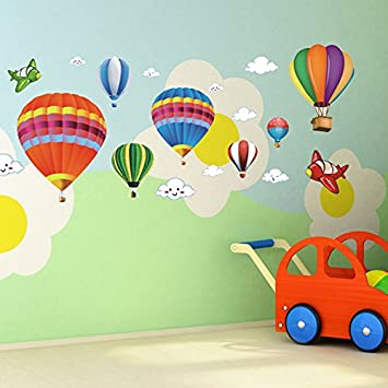 Charmant Amaonm Removable Creative 3D Hot Air Balloon Aircraft And Smile Clouds Wall  Decals Kids Room Wall