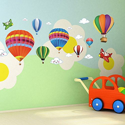 Decal Decor Room (Amaonm Removable Creative 3D Hot air Balloon Aircraft and Smile Clouds Wall Decals Kids room Wall Decorations art Decor Stickers Nursery Decor 3D art Decal Bedroom Bathroom Sticker)