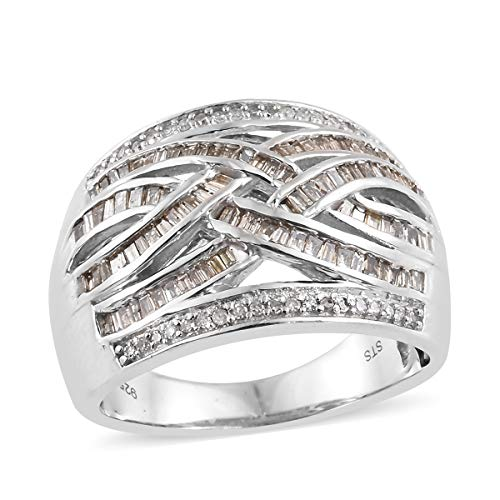 925 Sterling Silver Platinum Plated Diamond Baguette Bridal Anniversary Ring Size 6 Cttw 0.8 -