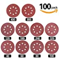 Swpeet 100 Pcs Sanding Discs Sandpaper Hook and Loop Pads for Circular Sander Grits Sanding Sheets 10 Sizes - 40 / 60 / 80 / 100/ 120 / 180 / 240 / 320 / 400 / 800 Grits