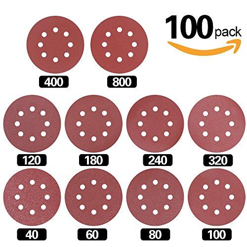Swpeet 100 Pcs Sanding Discs Sandpaper Hook And Loop Pads For Circular Sander Grits Sanding Sheets 10 Sizes   40   60   80   100  120   180   240   320   400   800 Grits