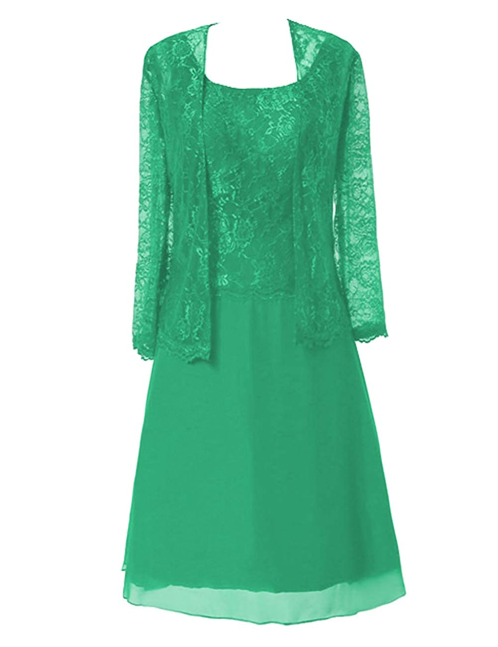 Green Mother of The Bride Dresses Knee Length for Wedding Plus Size Mother Dresses for Women Special Occasion with Jacket