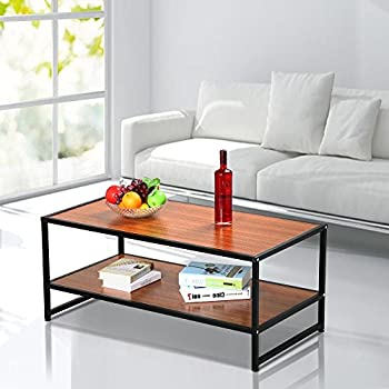 Yaheetech Modern Living Room 2 Shelf Tier Large Rectangle Wood Coffee Table Black Metal Legs