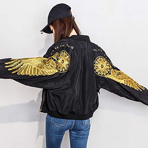 Rivetti Corto Giacche Jjhr Autunno Baseball Wings Gold Donna Da Coat Pilota Streetwear Sciolto Female Jacketgiacca Ricami Bomber pfwwnqPxdg