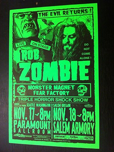 Rob Zombie White Monster Magnet Rare Original Seattle Salem Concert Gig Poster