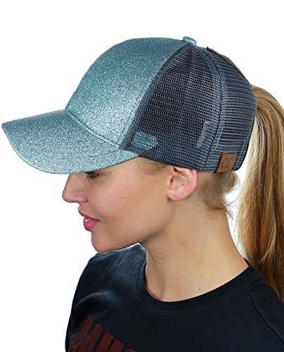 Trucker Adjustable Cap Mesh (C.C Ponycap Messy High Bun Ponytail Adjustable Glitter Mesh Trucker Baseball Cap, Mint)