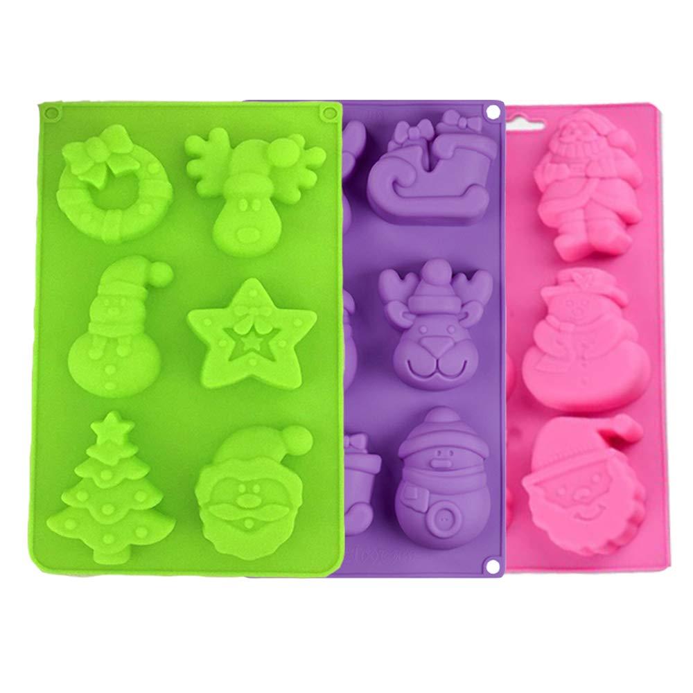 Color Aleatorio FineInno 3 Piezas Navidad Molde Silicona Christmas Baking Pan Molde Bizcocho Cupcakes Galletas,Reposter/ía,Helados,Jabones,Chocolate Horno,BPA Free