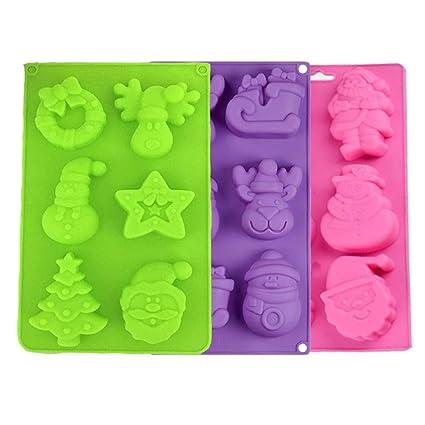 FineInno 3 Piezas Navidad Molde Silicona Christmas Baking Pan Molde Bizcocho Cupcakes Galletas,Repostería,