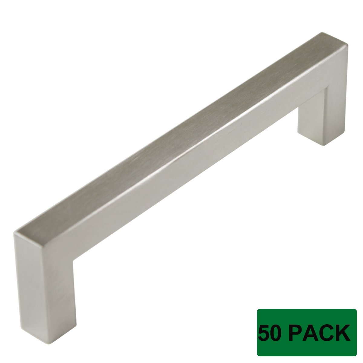 Probrico Cabinet Drawer Handles Stainless Steel Square Kitchen Cupboard Furniture Handles And Pulls Screw Spacing 5'' Total Length Brushed Nickel 5-1/2'' Pack of 50
