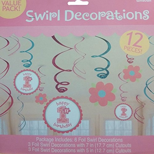Amscan Sweet Little Cup Cake Girl 1st Birthday Swirls Party Decorations 12 pc. (Amscan Sweet Cupcake Little)