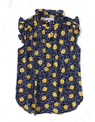 Ann Taylor LOFT Women's Ruffle Henley Tank Blouse (Small, Navy/Yellow Floral)