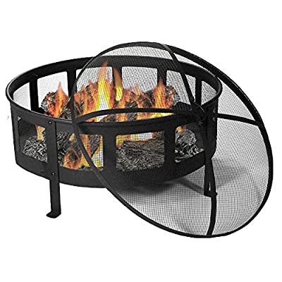 Sunnydaze 30 Inch Bravado Mesh Wood Burning Fire Pit with Spark Screen - Overall dimensions: 30 inch diameter x 22 inches tall x 9 inches deep; weighs 31 pounds. Includes fire bowl, heavy duty steel spark screen, fireside poker tool, and vinyl protective cover to help keep your outdoor fire pit looking new. The mesh sides create a nice cross breeze allowing for maximum airflow giving you and your families a nice long-lasting fire. - patio, outdoor-decor, fire-pits-outdoor-fireplaces - 51U353z%2BMfL. SS400  -