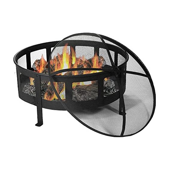 Sunnydaze 30 Inch Bravado Mesh Wood Burning Fire Pit with Spark Screen - Overall dimensions: 30 x 22 inches; weighs 31 pounds Includes: Steel spark screen, fireside poker tool, and vinyl protective cover. Mesh sides for maximum airflow for long lasting fires. - patio, outdoor-decor, fire-pits-outdoor-fireplaces - 51U353z%2BMfL. SS570  -