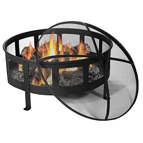 Sunnydaze 30 Inch Bravado Mesh Wood Burning Fire Pit with Spark Screen