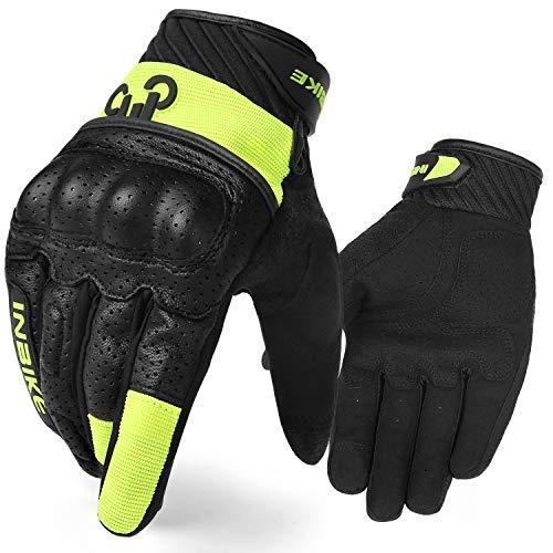 INBIKE Motorcycle Gloves, 3mm EVA Palm Pad Motorbike Gloves Full Finger Black&Green Medium