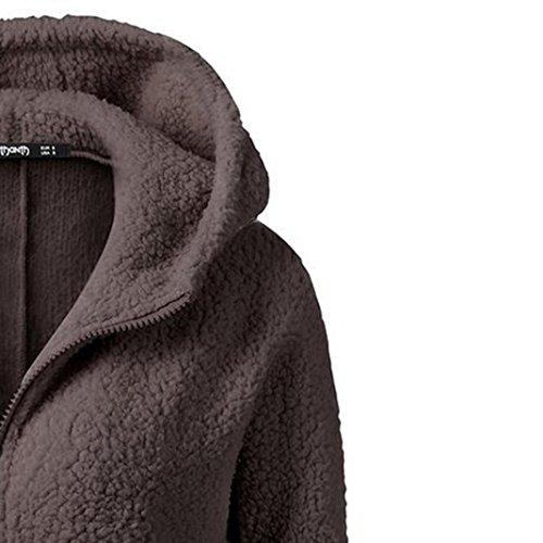 con algodón de lana suave para súper cálida calentar mujeres invierno suéter outwear Café invierno ropa Lenfesh mujer cremallera capucha abrigos de de abrigo 58WO6pq