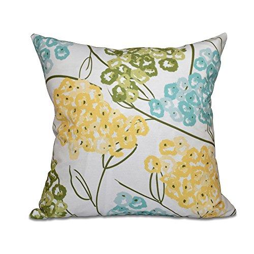 E by design PFN481YE2BL3-18 18 x 18 inch, Hydrangeas, Floral Print Pillow, 18x18, Yellow