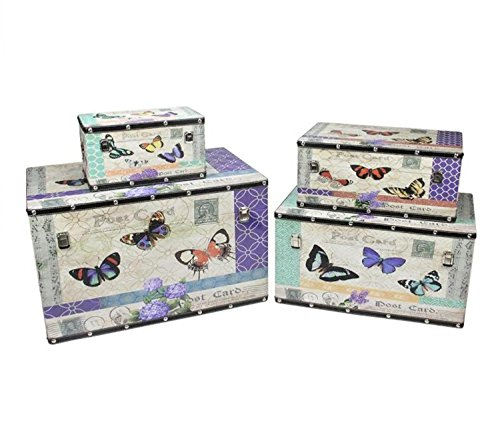 Northlight Set of 4 Wooden Garden-Style Butterfly Decorative Storage Boxes 14-27.5, 14''-27.5'', Multicolored by Northlight