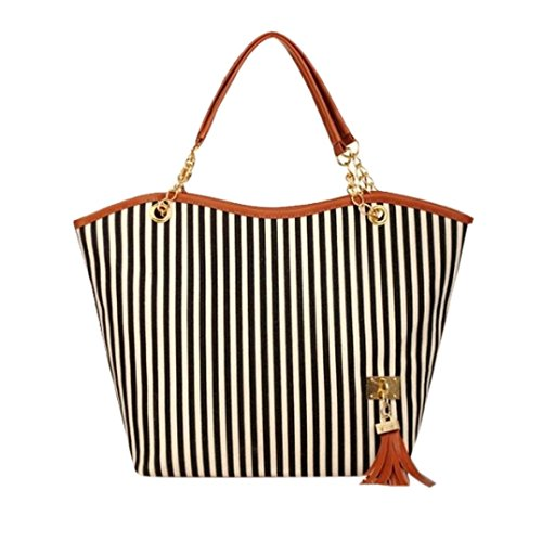 Stripe Kids Messenger (Canvas Top Handbag, WuyiMC Women Girl Stripe Tassels Chain Shopping Handbag Shoulder Tote Shop Bag (Black))
