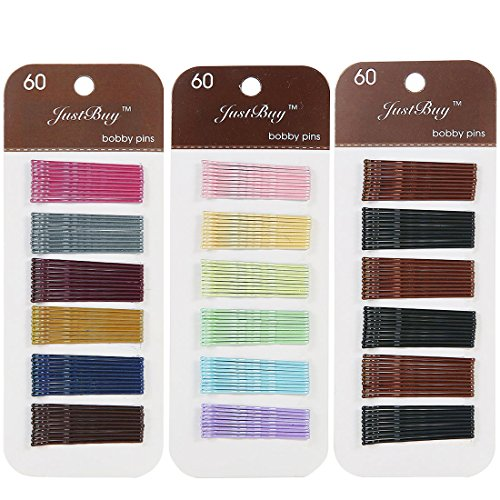 Justbuy Bobby Pins 2 Inches Hair Clips Metallic Barrettes Multi Pearlized Colored 180pcs (Mixed Color A)