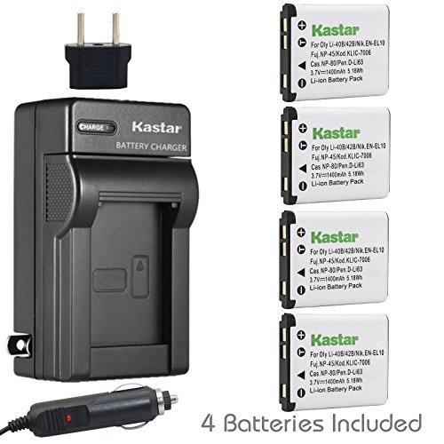 Kastar Battery (4-Pack) and Charger Kit for Olympus LI-40B LI-42B LI-40C work with Olympus D-630 D-720 D-725 IR-300 FE-290 FE-300 FE-320 FE-330 FE-340 FE-350 FE-360 FE-3000 FE-3010 FE-4000 FE-4010 FE-