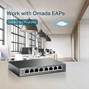 TP-LINK 8-Port Gigabit PoE Web Managed Easy Smart Switch with 4 PoE Ports (TL-SG108PE), 8-Port | 4xPoE 55W