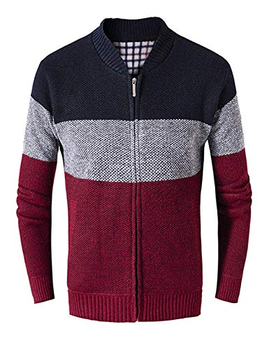 Men's Casual Wide Stripes Zipper Knitted Cardigan Sweater(Wine-Small)