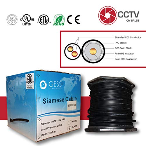 CCTVOnSales RG59 1000FT Bulk Siamese Combo Coaxial Cable CCS Copper Clad Steel Black, 20AWG Video Plus 18/2 Power Cable, CMR Rated (in-Wall Installations) Warranty Up to 5MP ETL Listed