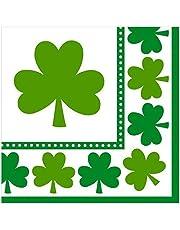 "Amscan Irish Saint Patrick's Day Lucky Shamrocks Luncheon Napkins Party Tableware, 6 1/2"" X 6 1/2"", Green/White"