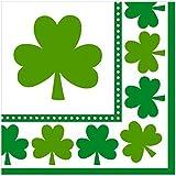 #2: Amscan Irish Saint Patricks Day Lucky Shamrocks Luncheon Napkins Party Tableware (48 Pack), 6 1/2 X 6 1/2, Green/White