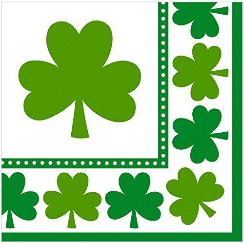 Amscan Irish Saint Patricks Day Lucky Shamrocks Luncheon Napkins Party Tableware (48 Pack), 6 1/2 X 6 1/2, Green/White