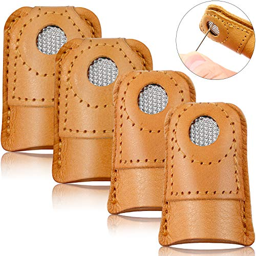 Find Bargain WILLBOND 4 Pieces Sewing Thimble Finger Protector Leather Coin Thimble Finger Pads Coin...