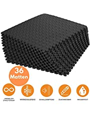 bonsport Schutzmatten Set Fitness 40x40 cm - 12, 36 oder 60 Puzzlematten   Unterlegmatten   Eva Bodenschutzmatten für den Fitnessraum oder Keller