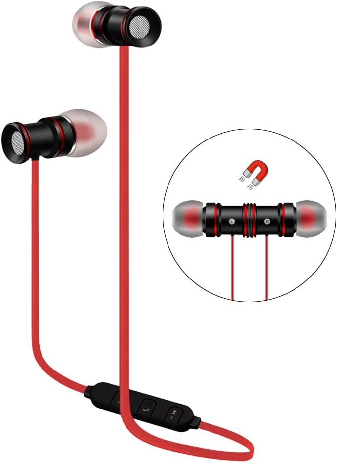 Wireless Stereo Earphones Red Sport Magnetic Clasp Compatible with Sonim XP8