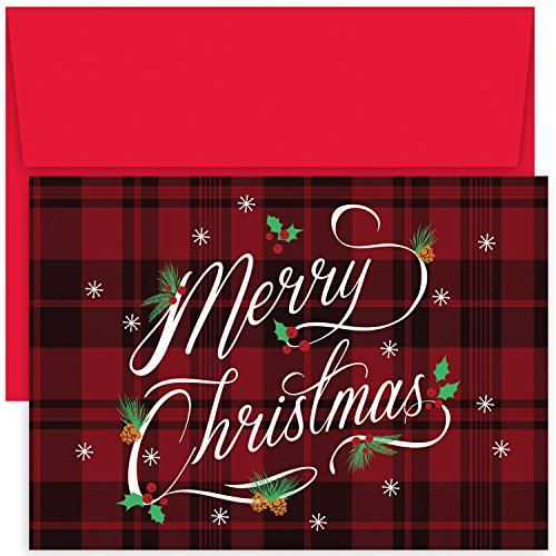 Masterpiece Hollyville 18-Count Christmas Cards in Keepsake Box, Plaid Merry Christmas ()