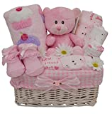 Beautiful Girls Pink Themed New Baby Gift Hamper/Basket with Clothing Set - with FAST & FREE UK Delivery!