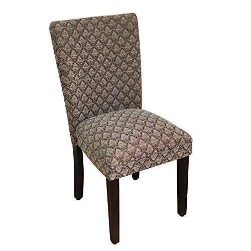 HomePop Parsons Classic Upholstered Accent Dining Chair, Single Pack, Blue Damask