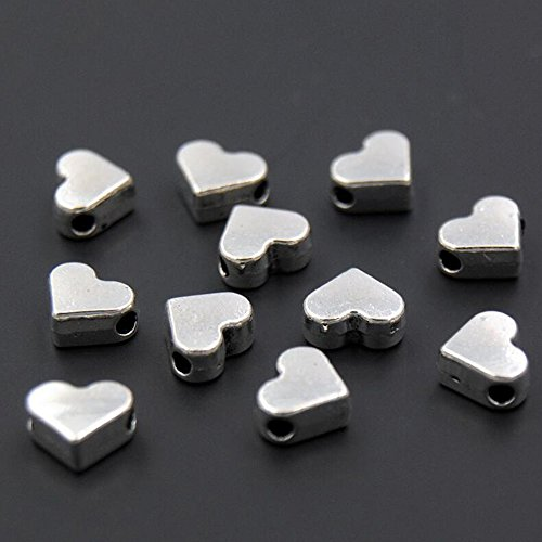 Heart Lightweight Bracelet - 30PCS Small Heart European Small Hole Spacer Beads Fits DIY Handmade Charms Necklace/Bracelets Accessories (Silver)
