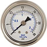 "PIC Gauge 202L-158C Glycerin Filled Industrial Center Back Mount Pressure Gauge with Stainless Steel Case, Brass Internals, Plastic Lens, 1-1/2"" Dial Size, 1/8"" Male NPT Connection Size, 0/30 psi Range"