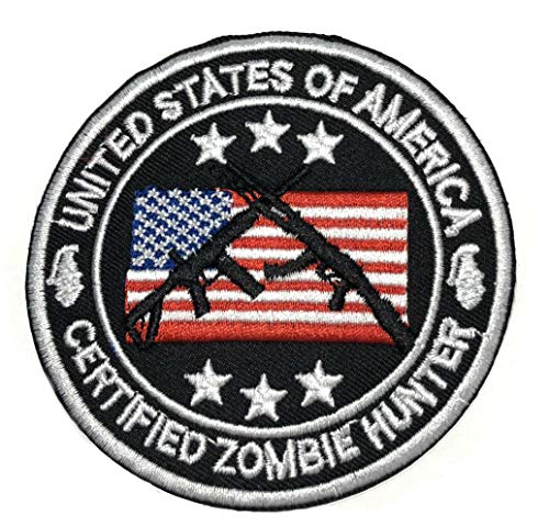 Certified Zombie Hunter Embroidered Patch Tactical Military Morale Motorcycle USA Flag Horror Biohazard Monster Apocalypse Series Iron or Sew-on Emblem Badge Appliques Application Fabric Patches ()