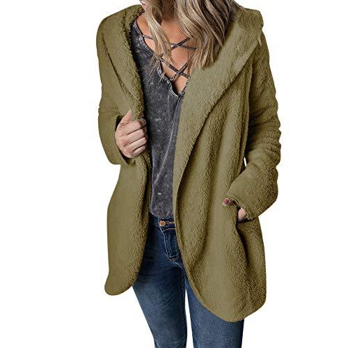 Gorgeous Women Coat KIKOY Winter Warm Outerwear Hoodie Faux Fleece Coat Outwear Green