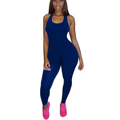 Femme Sexy Combinaison De Sport Moulante Taille Haute AjouréCouleur Unie  Jumpsuit Leggings Yoga Dos Nue sans ace6aad1094