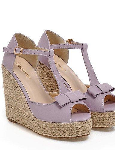 GGX/ Damenschuhe - Sandalen - Kleid - Kunstleder - Keilabsatz - Wedges / Zehenfrei / Plateau - Rosa / Lila / Weiß purple-us7.5 / eu38 / uk5.5 / cn38