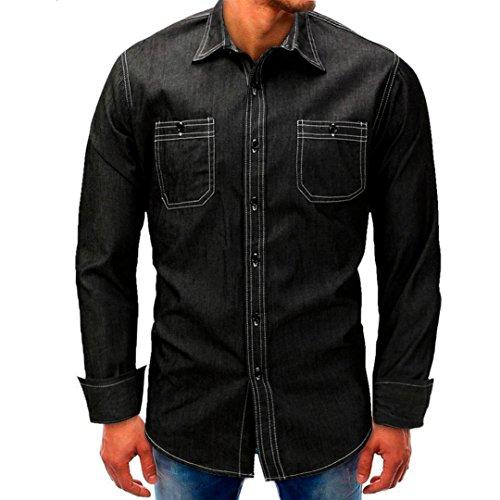 Realdo Mens Denim T-Shirt, Casual Fashion Long Sleeve Button Down Turtleneck Splice Tops(Black,XXX-Large)