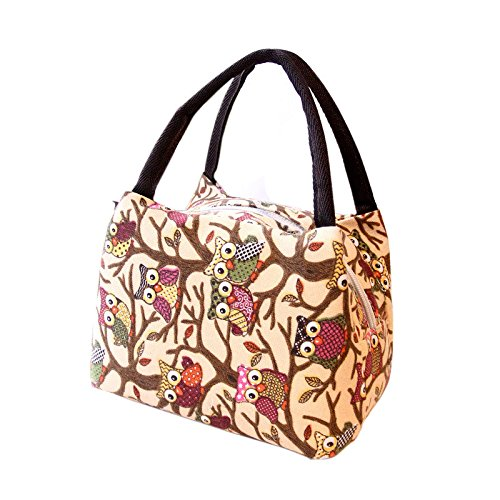 BB67 Tote Picnic Lunch Bag Cooler Box Owl Print Handbag Pouch Lunch Container Work School Outdoor Case Home Supplies Gift
