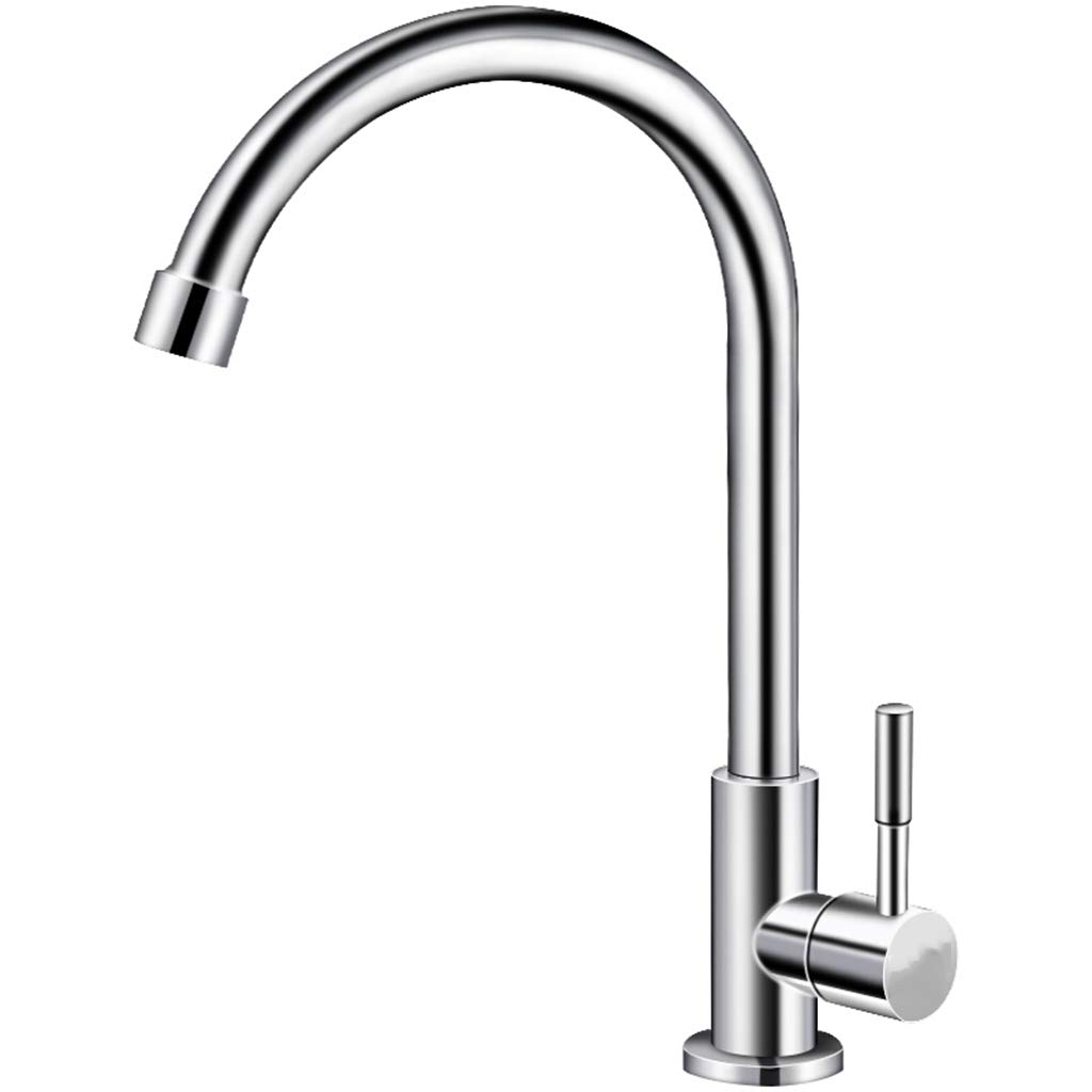 Yxx max Kitchen Single Cold Tap Bathroom Lead-Free 304 Stainless Steel Sink Mixer