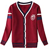 Matchlife Boys Long Sleeve V-Neck Button Cardigan Knit Sweater Coat Red 7-8 Years