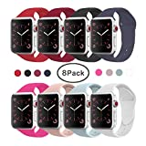 VATI Band for Apple Watch Series 3 Bands, Soft Silicone Replacement Sports Band for Apple Watch Band 2017 Series 3 Series 2 Series 1,8 Pack of 38MM S/M Size
